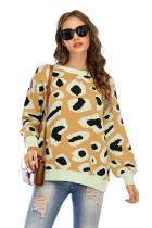 Suéter regular con cuello redondo y estampado de leopardo