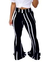 Flare broek met hoge taille en gestreepte print