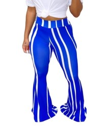 Striped Print High Waist Flare Trousers