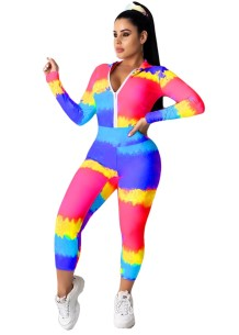 Tie Dye Long Sleeve Tight Tracksuit