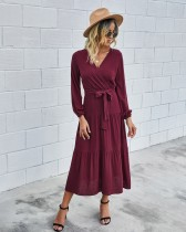 Western Long Sleeve Wrapped Solid Long Dress