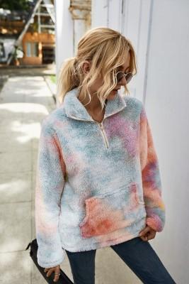 Top pullover in peluche con tinta unita autunno tasca