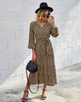 Western Long Sleeve Wrapped Leopard Long Dress