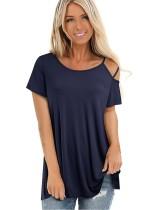 Camicia semplice con scollo a O con taglio estivo