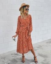 Western Long Sleeve Wrapped Print Long Dress