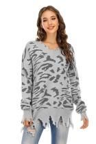 Suéter largo con borlas y cuello en V con estampado de leopardo
