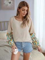 Autumn Patchwork O Neck Shirt with Floral Sleeves
