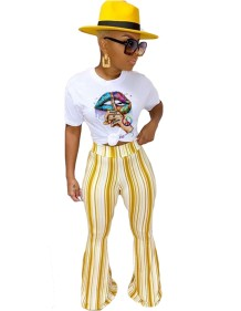 Summer Print Shirt and High Waist Flare Trousers