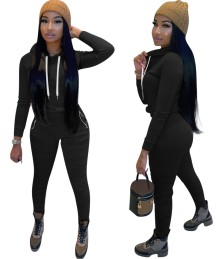 Casual Plain Two Piece Hoodie Stacked Tracksuit