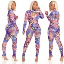 Schmetterlingsdruck Sexy Langarm Bodycon Jumpsuit