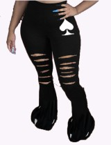 Black Bell Bottom Hose mit hoher Taille