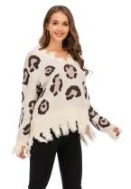 Pullover mit V-Ausschnitt und Leopardenmuster