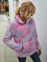 Jersey de felpa con efecto tie dye de bolsillo de otoño