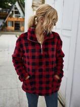 Herbst Plaid High Neck Plüsch Pullover Tops