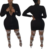 Vestido ajustado con cremallera de manga larga negro sexy