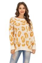 Suéter largo con cuello redondo y estampado de leopardo