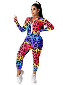 Leopard Print Colorful Long Sleeve Tracksuit