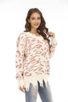 Lange trui met luipaardprint, V-hals en kwastjes