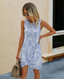 Tie Dye Sleeveless Shirt Dress