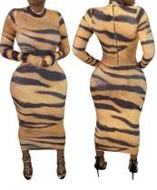Vestido largo curvo con estampado de tigre sexy y mangas completas