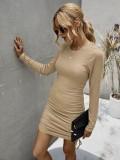 Düz Örme O Yaka Dantelli Mini Elbise