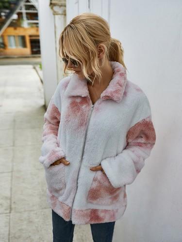 Veste zippée tie dye en peluche avec poches