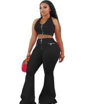 Sexy Plain Halfter Crop Top und Flare Pants Set