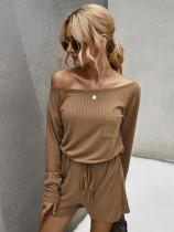 Plain Knit Two Piece Lounge Wear
