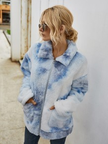 Tie Dye Plush Zipper Jacket with Pockets