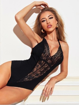 Dentelle Accent Sexy Strap Teddy Lingerie