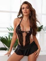 Zwarte Sexy Halter Lingerie