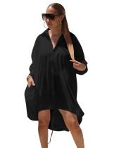 Vestido de blusa suelta liso alto bajo africano