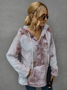 Tie Dye Plush Hoody Top with Pocket