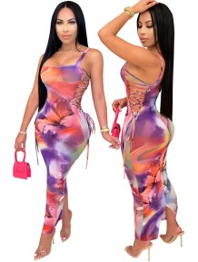 Sexy Lace Up Tie Dye Strap Long Curvy Dress