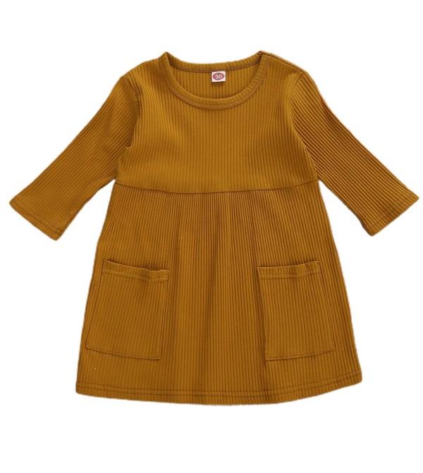 Детское осеннее платье трапециевидной формы с карманами для девочек