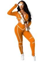Sportfitness crop top en broek met lange mouwen