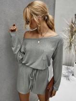 Zweiteilige Lounge-Kleidung aus glattem Strick