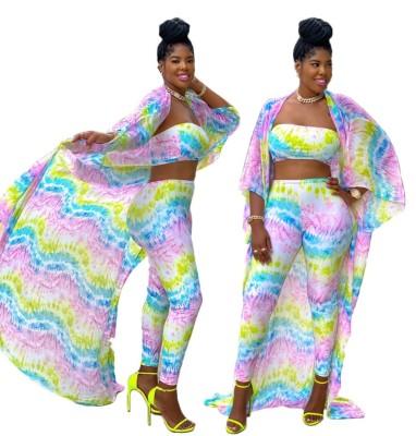 Set di pantaloni aderenti tie dye africano 3PC