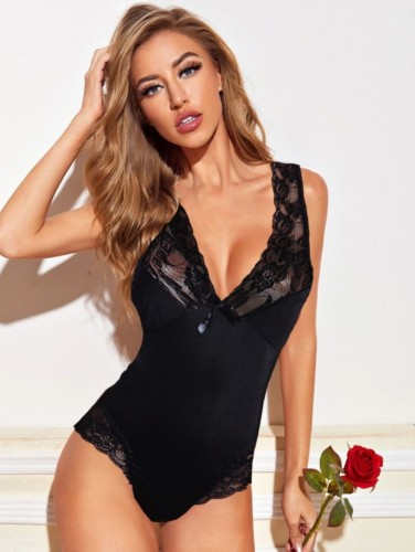 Lace Accent Sexy V Neck Teddy Lingerie