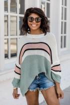 Suéter de rayas con mangas de murciélago de otoño
