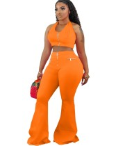 Sexy Plain Halter Crop Top and Flare Pants Set