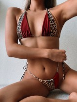 Maillots de bain string sexy à imprimé léopard