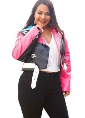 Veste zippée en cuir imprimée grande taille avec ceinture