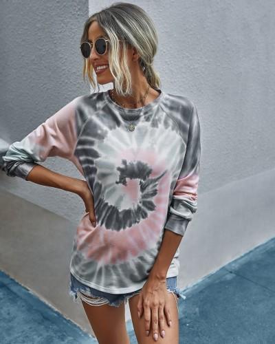 Chemise Tie Dye à col rond d'automne