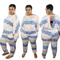 Conjunto de pantalones de dos piezas con efecto tie dye de talla grande