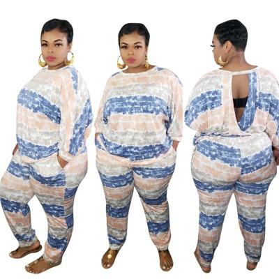 Set di pantaloni in due pezzi tie dye taglie forti