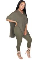 Summer Plain Slit Long Shirt und Tight Legging Set