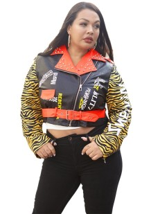 Plus Size Print Leather Zipper Jacket with Belt
