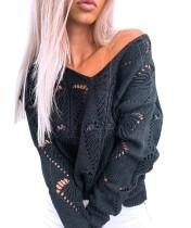 Suéter holgado con cuello en V ahuecado