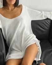 Seksi Beyaz Örgü Gevşek Gömlek Elbise
